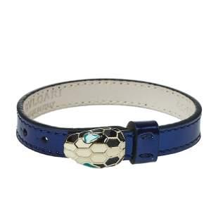 Bvlgari Serpenti Forever Enamel Gold Plated Metallic Blue Leather Bracelet