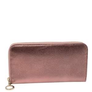 Bvlgari Metallic Pink Leather Zip Around Wallet