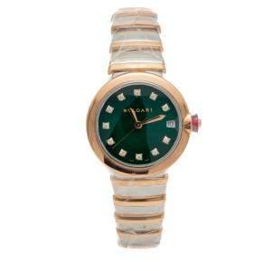 Bvlgari Lvcea Green Diamond Dial Steel & Rose Gold Women's Watch 33MM