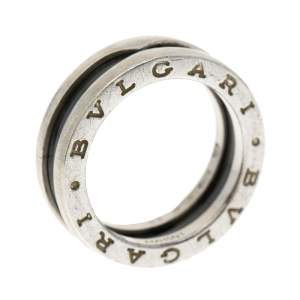 Bvlgari Save the Children 1-Band Black Ceramic Silver Ring Size 53