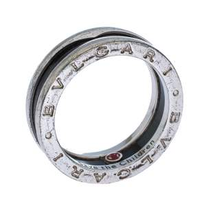 Bvlgari Save the Children Black Ceramic Silver 1-Band Ring Size 56