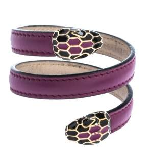 Bvlgari Serpenti Forever Enamel Purple Leather Wrap Bracelet