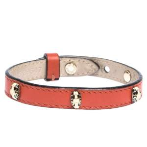 Bvlgari Serpenti Enamel Stud Embellished Red Leather Bracelet
