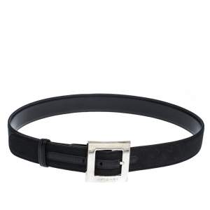 Bvlgari Black Mania Fabric Square Buckle Belt 105CM