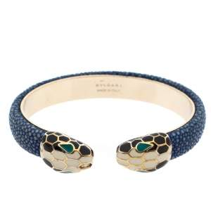 Bvlgari Serpenti Forever Blue Galuchat Leather Gold Plated Open Cuff Bracelet