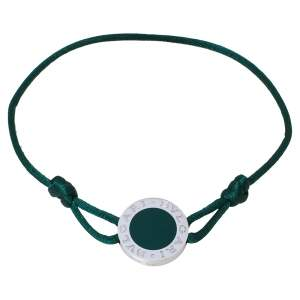 Bvlgari Green Enamel Sterling Silver Adjustable Cord Bracelet