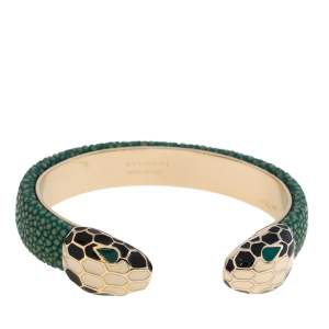 Bvlgari Green Galuchat Serpenti Forever Gold Plated Open Cuff Bracelet