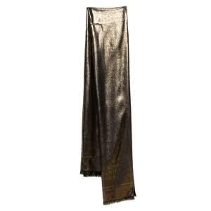Bvlgari Gold Silk Wool Lettere Maxi Logomania Stole