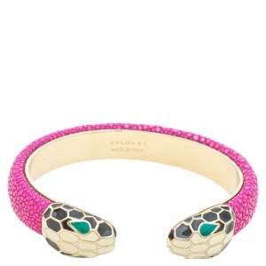 Bvlgari Serpenti Forever Pink Galuchat Leather Open Cuff Bracelet 15 cm