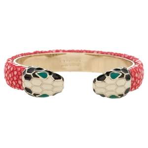 Bvlgari Serpenti Forever Pink Galuchat Leather Open Cuff Bracelet