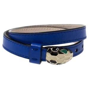 Bvlgari Serpenti Blue Leather Enamel Gold Plated Double Wrap Bracelet