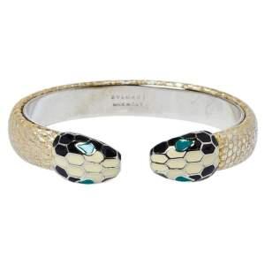 Bvlgari Serpenti Forever Metallic Gold Karung Leather Open Cuff Bracelet S
