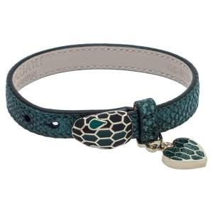 Bvlgari Serpenti Forever Metallic Emerald Karung Leather Heart Charm Bracelet
