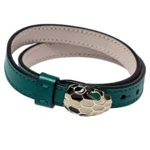 Bvlgari Serpenti Forever Green Leather Double Wrap Bracelet