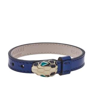 Bvlgari Metallic Blue Leather Serpenti Forever Bracelet