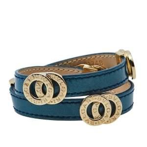 Bvlgari Bvlgari Blue Patent Leather Double Coiled Wrap Bracelet