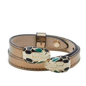 Bvlgari Serpenti Forever Metallic Gold Double Coiled Leather Gold Tone Bracelet