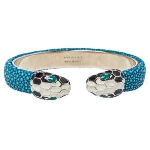 Bvlgari Blue Galuchat Leather Serpenti Forever Open Cuff Bracelet