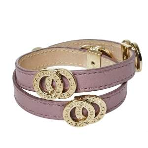 Bvlgari Bvlgari Pale Purple Leather Gold Plated Metal Double Coiled Bracelet
