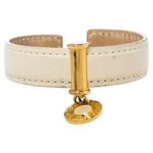Bvlgari Cream Leather Logo Charm Open Cuff Bracelet