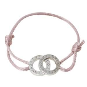 Bvlgari Bvlgari Double Logo Silver Adjustable Rose Cord Bracelet