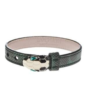 Bvlgari Serpenti Forever Malachite Karung Leather Enamel Gold Plated Bracelet