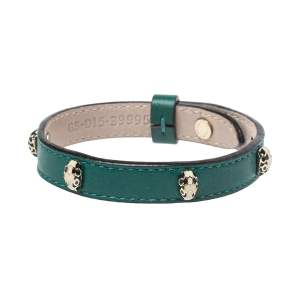 Bvlgari Serpenti Enamel Stud Embellished Green Leather Bracelet