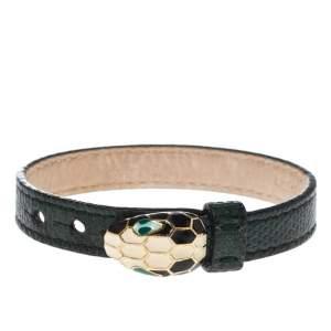 Bvlgari Dark Green Leather Serpenti Forever Bracelet