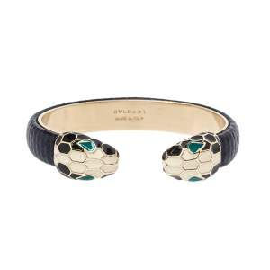 Bvlgari Serpenti Forever Navy Blue Karung Leather Open Cuff Bracelet