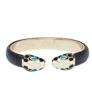 Bvlgari Serpenti Forever Enamel & Metallic Leather Gold Plated Open Cuff Bracelet