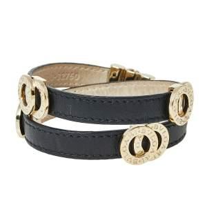 Bvlgari Black Leather Double Coiled Wrap Bracelet