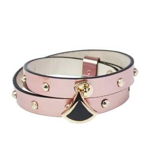 Bvlgari Divas' Dream Metallic Studded Leather Double Wrap Bracelet