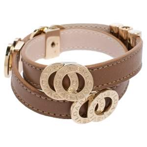 Bvlgari Bvlgari Brown Leather Gold Plated Metal Double Coiled Bracelet