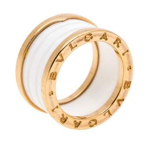 Bvlgari B.Zero1 White Ceramic 18K Rose Gold 4-Band Ring Size 52
