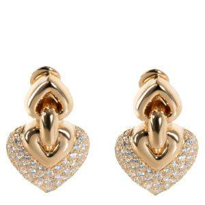 Bvlgari 18K Yellow Gold Diamond Doppio Cuore Drop Earrings
