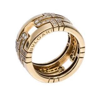 Bvlgari Parentesi Diamond 18K Yellow Gold Wide Band Ring Size 50