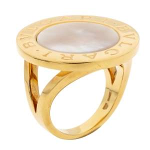 Bvlgari Mother of Pearl Inlay 18k Yellow Gold Circular Ring Size 56