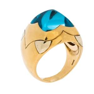 Bvlgari Piramade Topaz 18K Yellow & White Gold Cocktail Ring Size 55