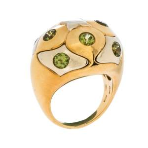 Bvlgari Peridot 18K Yellow & White Gold Dome Cocktail Ring Size 53