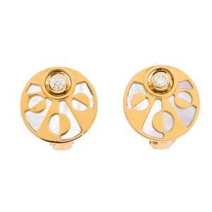 Bvlgari Intarsio Diamond Mother Of Pearl 18K Rose Gold Earrings