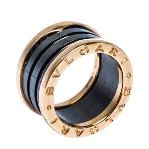 Bvlgari B.Zero1 Black Ceramic 18K Rose Gold 4-Band Ring Size 50
