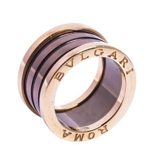 Bvlgari B.Zero1 Roma Bronze Ceramic 18K Rose Gold 4-Band Ring Size 52