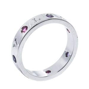 Bvlgari Bvlgari Multicolor Gemstone Diamond 18K White Gold Band Ring 65