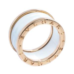 Bvlgari B.Zero1 White Ceramic 18K Rose Gold 4-Band Ring Size 56