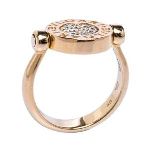 Bvlgari Mother of Pearl & Diamond 18K Rose Gold Flip Ring 48