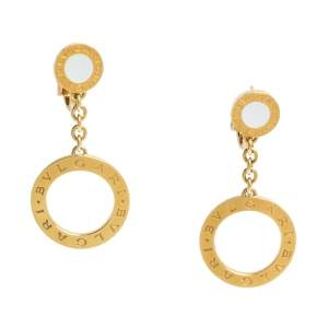 Bvlgari Mother of Pearl 18K Yellow Gold Circle Drop Earrings