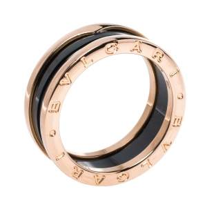 Bvlgari B.Zero1 Black Ceramic 18K Rose Gold 2-Band Ring Size 62