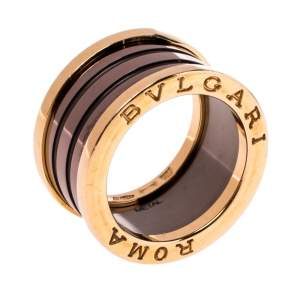 Bvlgari B.Zero1 Roma 4-Band Bronze Ceramic 18K Rose Gold Band Ring Size 53
