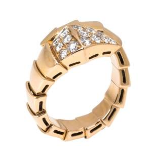 Bvlgari Serpenti Viper Diamond 18K Rose Gold One-Coil Ring Size 51