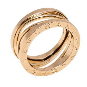 Bvlgari B.Zero1 Design Legend 18K Rose Gold 3-Band Ring Size 56